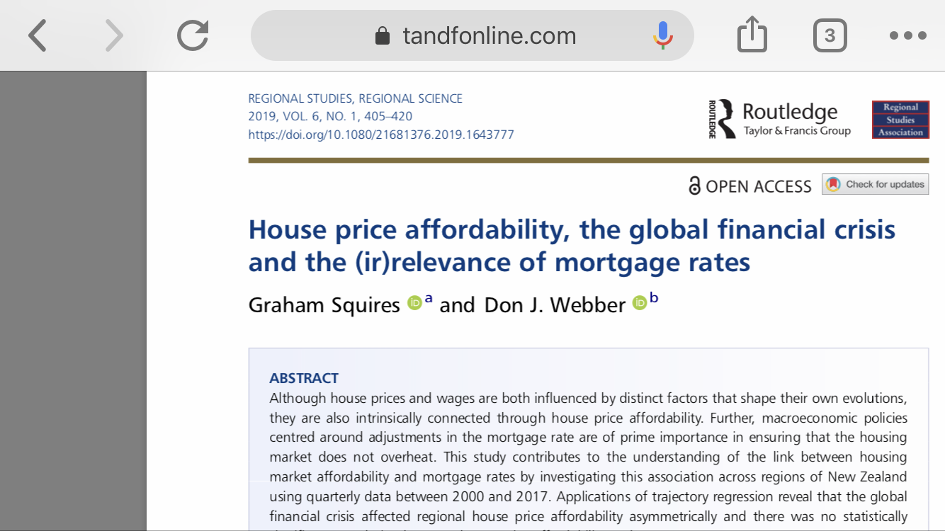 Latest Journal Paper (Open Access) House price affordability, the global financial crisis and the (ir)relevance of mortgage rates in RSRS